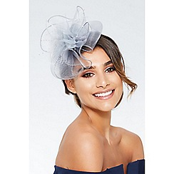 Quiz - Grey flower bead fascinator