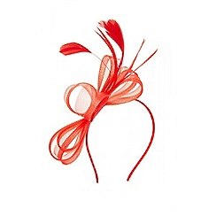 Quiz - Red bow feather headband fascinator