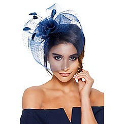 Quiz - Navy rose large net fascinator