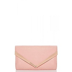 Quiz - Pink faux suede clutch bag