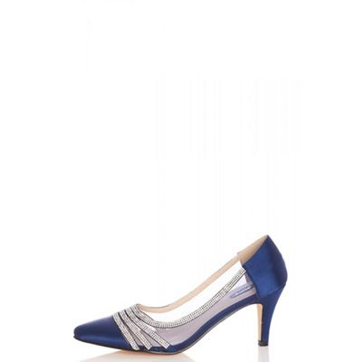 Quiz - Navy satin point toe court shoes