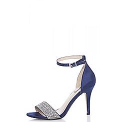 Quiz - Navy blue satin diamante strap heel sandals