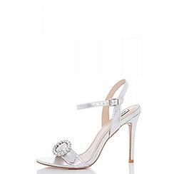 Quiz - Silver shimmer jewel bucke heel sandals