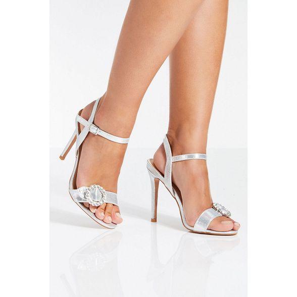 heel jewel bucke Quiz shimmer Silver sandals 6wqnRAHC