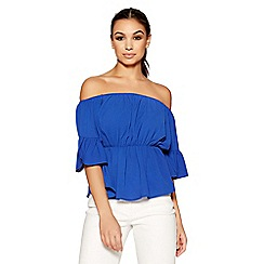 Quiz - Royal blue bardot flute sleeve top
