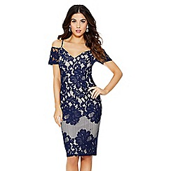 Quiz - Navy and nude cold shoulder dress