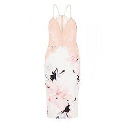 Quiz - Cream and pink lace top midi dress