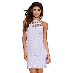 Quiz - Lilac crochet tie back bodycon dress