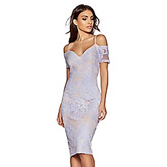 Quiz - Lilac and nude cold shoulder midi dress