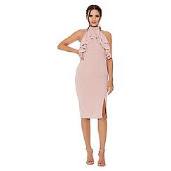 Quiz - Dusky pink frill halter neck midi dress