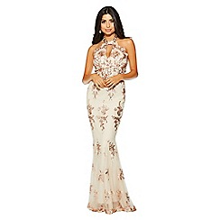 Quiz - Rose gold chiffon sequin cut out maxi dress