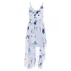 Quiz - Pale blue floral chiffon dip hem dress