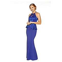 Quiz - Royal blue sweetheart neck peplum maxi dress
