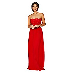 Quiz - Red crepe embellished bandeau maxi dress