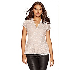 Quiz - Nude and pink lace glitter peplum top
