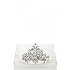 Quiz - White jewel trim clutch bag