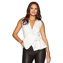 Quiz - Cream stretch crepe waistcoat top