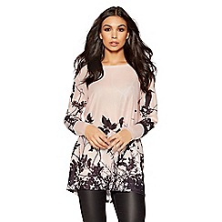 Quiz - Pale pink and black bird print top