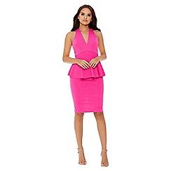 Quiz - Pink plunge peplum dress