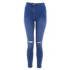 Quiz - Blue denim ripped high waisted jeans