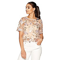 Quiz - Nude and lilac floral embellished top