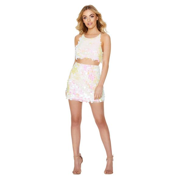 White skirt embellished Quiz mini sequin pq7wTdzWT