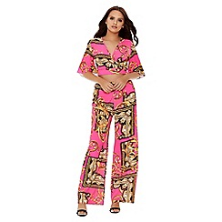 Quiz - Pink and gold scarf palazzo trousers