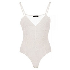 Quiz - Cream lace mesh corset bodysuit