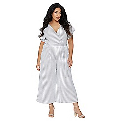 Quiz - Curve cream and navy stripe wrap jumpsuit