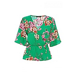 Quiz - Green and pink crepe floral top