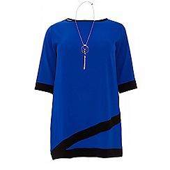 Quiz - Curve royal blue 3/4 sleeve necklace tunic dress