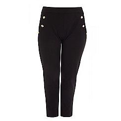 Quiz - Curve black gold button detail trousers