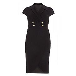 Quiz - Curve black lapel button wrap dress