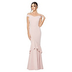 Quiz - Blush bardot tier frill fishtail maxi dress