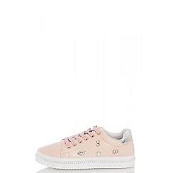 Quiz - Pink pu pearl trim trainers