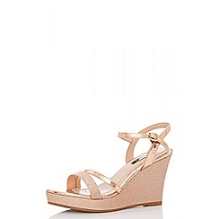 Quiz - Rose gold metallic glitter wedge