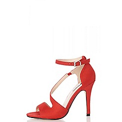 Quiz - Red faux suede strap sandals
