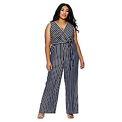 Quiz - Curve navy and white stripe jumpsuit