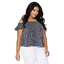 Quiz - Curve navy and white stripe cold shoulder top