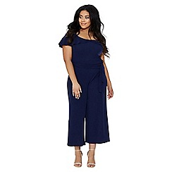 Quiz - Curve navy cold shoulder jumpsuit