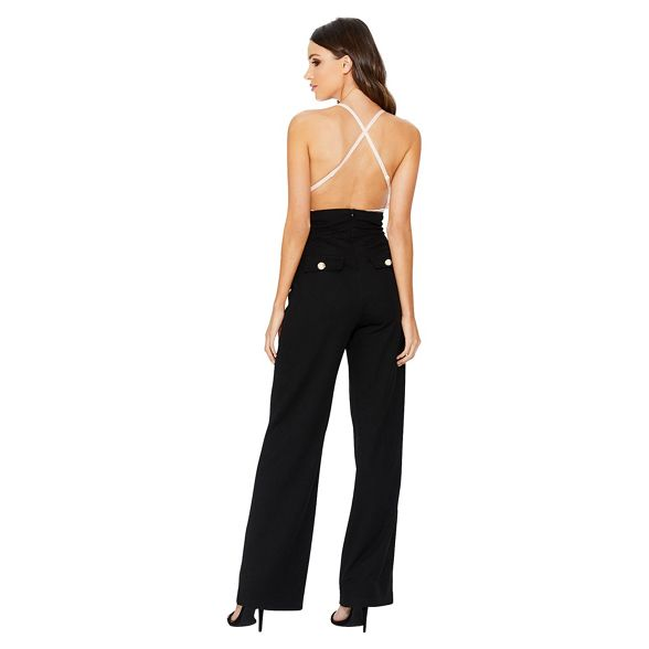 Quiz crepe high Black waist trousers palazzo qSqr1nwx5