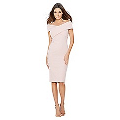 Quiz - Dusky pink crepe cross over bardot dress