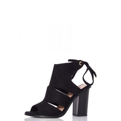 Quiz - Black cut out lace back shoe boots