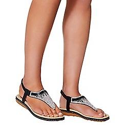 Quiz - Black diamante flat sandals