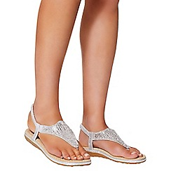 Quiz - Silver diamante flat sandals