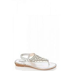 Quiz - Silver metallic swirl diamante flat sandals