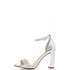 Quiz - Silver metallic diamante barely there sandals
