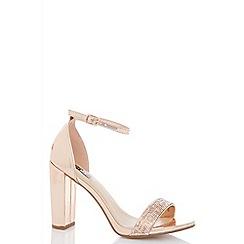 Quiz - Rose metallic diamante sandals