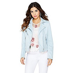 Quiz - Pale faux suede zip detail biker jacket