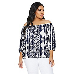 Quiz - Curve blue and white bardot top